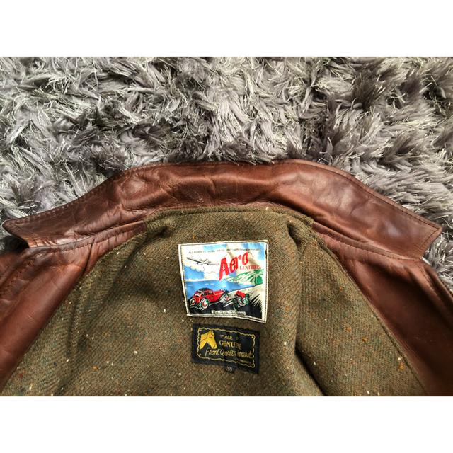 AeroLeather ハーフベルテッド ホースレザー ブラウン メンズのジャケット/アウター(ライダースジャケット)の商品写真