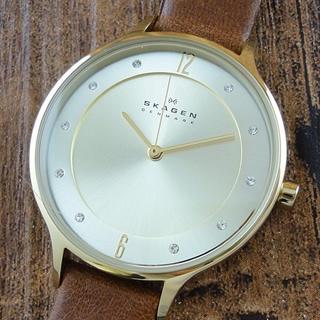 スカーゲン(SKAGEN)の新品 スカーゲン 腕時計 レディース ブラウンレザー SKW2147 軽量(腕時計)