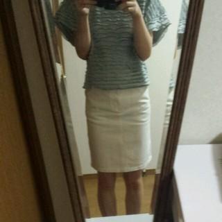 バビロン(BABYLONE)の白デニムスカート(ひざ丈スカート)