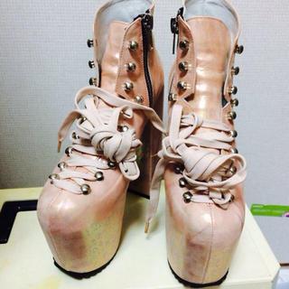 ユニフ(UNIF)のUNIF  マーメイドピンク 厚底ブーツ(ブーツ)
