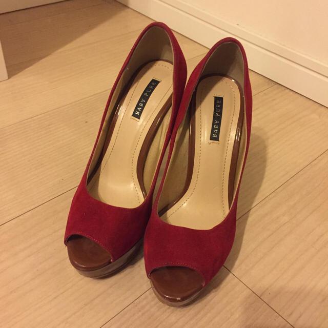 BABY PURE スエード オープントゥ パンプス サンダル ハイヒール レディースの靴/シューズ(ハイヒール/パンプス)の商品写真