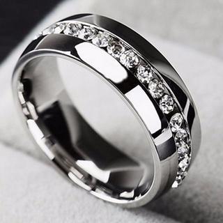 キラキララインストーン シルバー ステンレスリング 指輪 ユニセックス(リング(指輪))