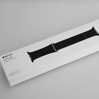 アップルウォッチ(Apple Watch)の純正 限定値下 Apple Watch 42mm Lサイズ ブラックレザーループ(スマートフォン本体)