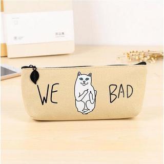 ねこ ネコ 猫ペンケース 猫筆箱 WE BAD!ベージュ♪ 新品未使用品(猫)