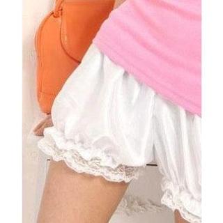 【値下げ 新品】つるつる サテン かぼちゃパンツ ドロワーズ コスプレ 白(コスプレ用インナー)