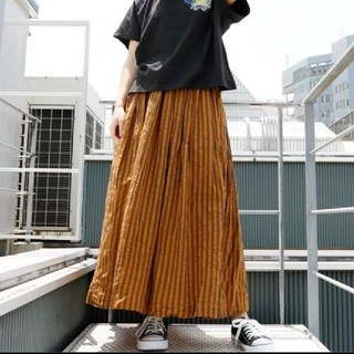 ダブルネーム(DOUBLE NAME)の新品 ダブルネーム ストライプ ギャザースカート(ロングスカート)