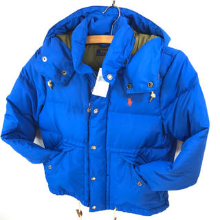 ポロラルフローレン(POLO RALPH LAUREN)の正規品新品 ラルフローレン ダウンジャケット S M相当 青 ワンポイント (ダウンジャケット)