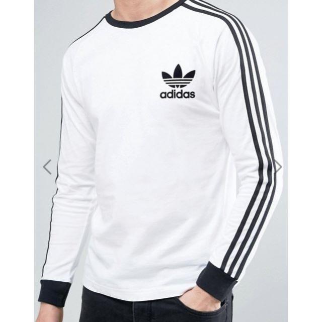 adidas(アディダス)の★adidas★3ストライプス ロング スリーブ Tシャツホワイト 【M~L】 メンズのトップス(Tシャツ/カットソー(七分/長袖))の商品写真
