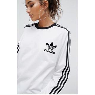 アディダス(adidas)の★adidas★3ストライプス ロング スリーブ Tシャツホワイト 【M~L】(Tシャツ/カットソー(七分/長袖))