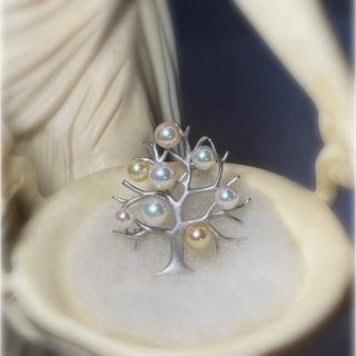 オリジナル(Original)の真珠 パール Pearl Tree ブローチ 和珠 あこや ゴールド SV(ブローチ/コサージュ)