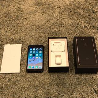 アップル(Apple)のiPhone7plus ジェットブラック 128GB au 美品!再出品(スマートフォン本体)