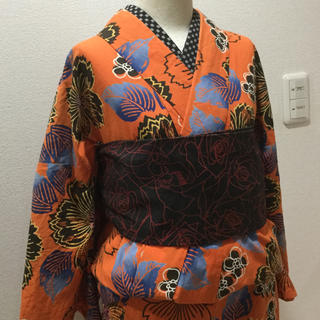34値下げ!オレンジ 浴衣 単 綿着物 ハロウィン (着物)