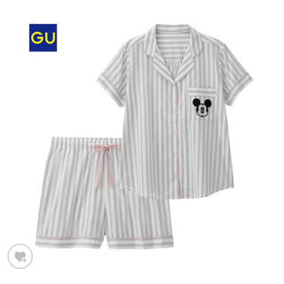 ジーユー(GU)のGU ディズニー ストライプ パジャマ グレー(パジャマ)