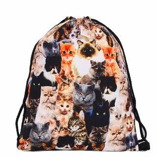 猫巾着袋 猫バックバッグ 新品未使用品 送料無料(猫)