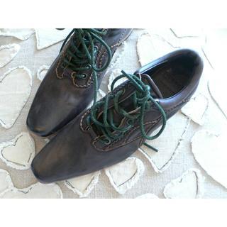 リミフゥ(LIMI feu)の定5.3リミフゥLIMI feuヨウジヤマモトレースアップレザーシューズ黒S24(ローファー/革靴)