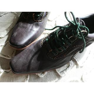 リミフゥ(LIMI feu)の定5.3万リミフゥLIMI feuヨウジヤマモトレザーシューズ黒XS23(ローファー/革靴)