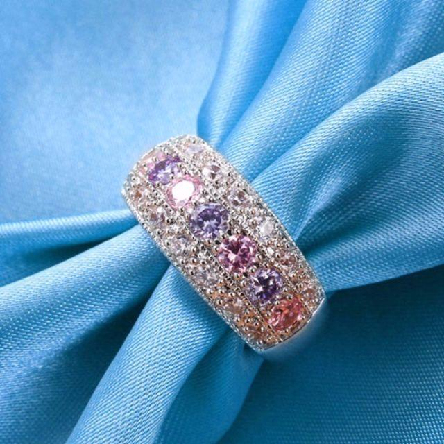 20号 キュービックジルコン ピンク&パープル クリスタルリング レディースのアクセサリー(リング(指輪))の商品写真