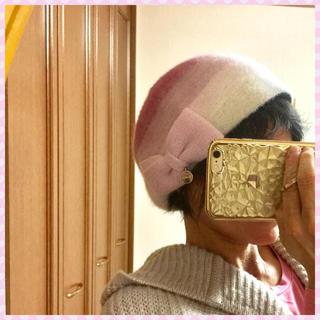 フルラ(Furla)の[美品]値下フルラ ベレー帽 ピンク グラデ リボン 可愛い(ハンチング/ベレー帽)