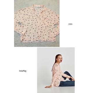 ザラ(ZARA)の専用 ZARA ザラ バードプリント シャツ ブラウス とろみ ピンク XS(シャツ/ブラウス(長袖/七分))
