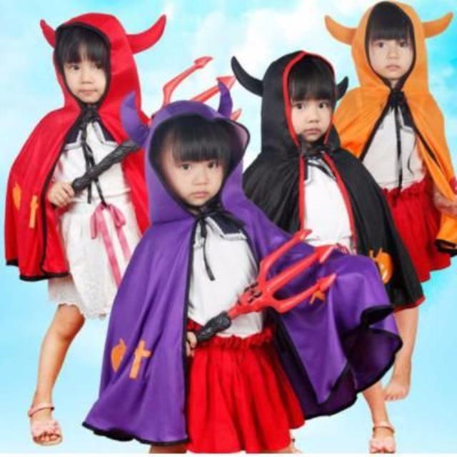 子供用悪魔コスチューム【紫】フード付き ハロウィーン衣装 ロングケープ マント キッズ/