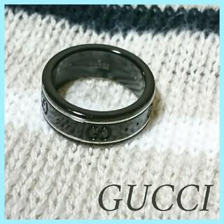 グッチ(Gucci)の美品 グッチ アイコン リング K18WG×ブラックシンセティックコランダム (リング(指輪))