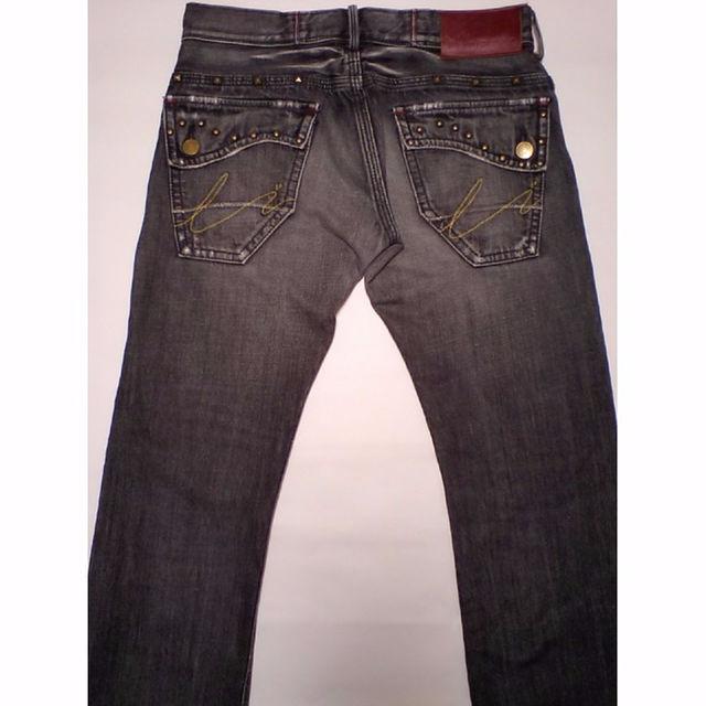 EDWIN(エドウィン)の男L LIBERTO EDWIN クラッシュ・スタッズリメイク ブラックジーンズ メンズのパンツ(デニム/ジーンズ)の商品写真