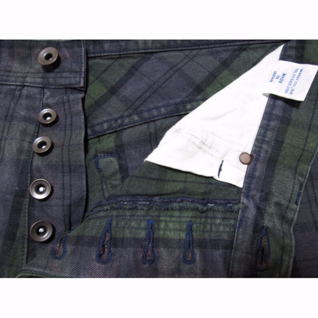 男L insula インシュラ ボタンフライチェックジーンズ グリーン×パープル メンズのパンツ(デニム/ジーンズ)の商品写真