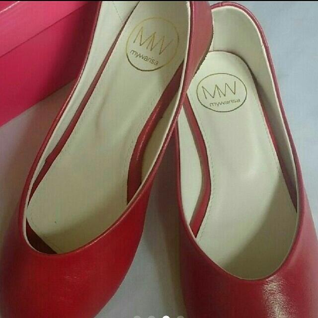 マイワリサレディースフラットぺたんこ靴シューズ Brick Red レッド 37 レディースの靴/シューズ(ハイヒール/パンプス)の商品写真