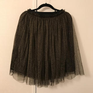 ルシェルブルー(LE CIEL BLEU)のルシェルブルー ゴールド ラメ チュールスカート(ひざ丈スカート)