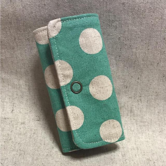キーケース  ぷち    大きいドット ライトグリーン ハンドメイドのファッション小物(キーケース/名刺入れ)の商品写真