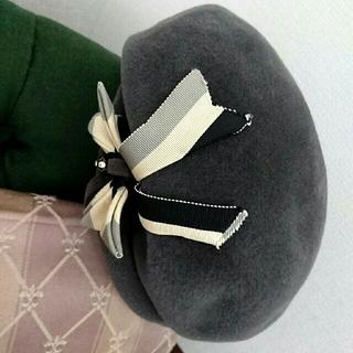 クリスチャンディオール(Christian Dior)のヴィンテージ パリ購入 ベレー帽 女優帽 モダン レトロ(ハンチング/ベレー帽)