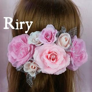 ピンク♡淡いピンク♡ピンクバラ♡結婚式 ウェディング 成人式 ハロウィン 髪飾り(ヘアピン)