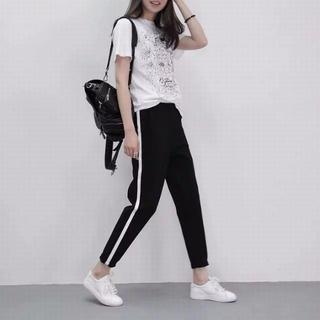 ◆新品XL サイドライン ジョガー ジャージパンツ韓国ファッション黒白AD70(カジュアルパンツ)