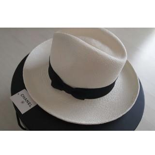 シャネル(CHANEL)の2017S/S  国内直営店購入CHANEL シャネルストローハットパナマ帽(麦わら帽子/ストローハット)