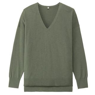 ムジルシリョウヒン(MUJI (無印良品))のオーガニックコットンシルクVネックセーター 婦人XL・グリーン(ニット/セーター)