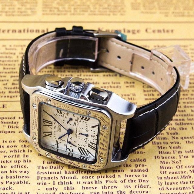 スクエア&ホワイト ローマ数字 メンズ 自動巻き腕時計 メンズの時計(腕時計(アナログ))の商品写真