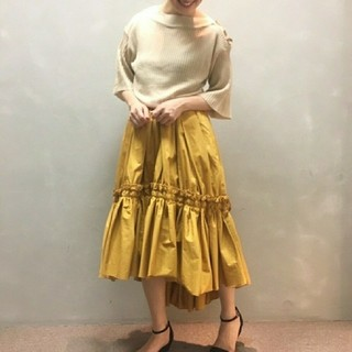 フレイアイディー(FRAY I.D)の新品タグ付き☆ギャザリングアシンメトリースカート☆アシメスカート(ロングスカート)