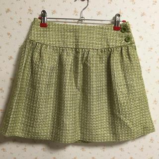 プーラフリーム(pour la frime)の綺麗なグリーンのツイードスカート(ミニスカート)