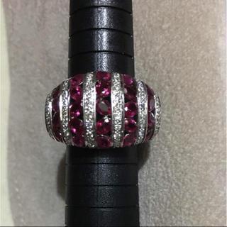 18金 ホワイトゴールド ダイヤモンド ルビー 指輪(リング(指輪))