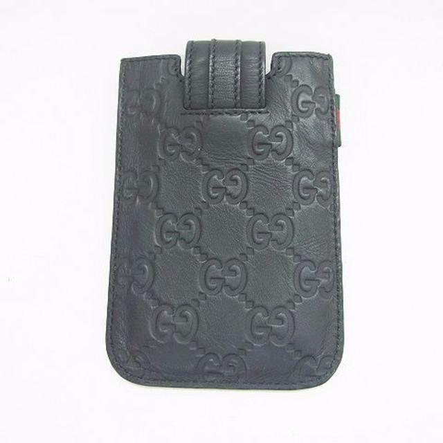 グッチ GICCI グッチシマ アイフォンケース 黒 S21681 メンズのファッション小物(名刺入れ/定期入れ)の商品写真