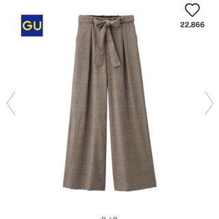 ジーユー(GU)の新品タグ付き♡guウエストリボンワイドパンツ  ブラウン(カジュアルパンツ)