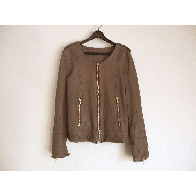 CROON A SONG(クルーンアソング)のクルーンアソング レザージャケット 本革 ゴールド金具 レディースのジャケット/アウター(ライダースジャケット)の商品写真