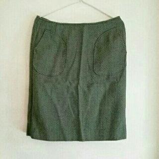 プーラフリーム(pour la frime)の美品  pour la frime スカート ドットツイード  グリーン  M(ひざ丈スカート)