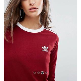 アディダス(adidas)の日本未発売 Lサイズ adidas 新品 3ストライプ ロンT バーガンディ(Tシャツ(長袖/七分))