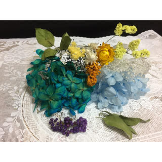 花材 ボリューム満点ブルー&ブルー種類豊富セット(ドライフラワー)