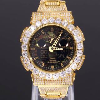 ジーショック(G-SHOCK)のG-SHOCK フルカスタムCZダイヤ迷彩カモフラ GA100 14K GOLD(腕時計(デジタル))