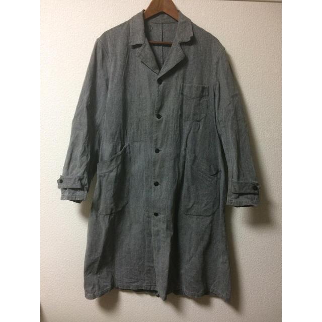 アトリエコート 50s 40s ショップコート ヴィンテージ 黒シャン メンズのジャケット/アウター(ステンカラーコート)の商品写真