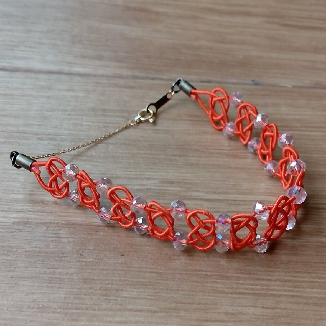 和風アクセサリー*水引きブレスレット  オレンジ ハンドメイドのアクセサリー(ブレスレット/バングル)の商品写真