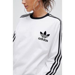 アディダス(adidas)の【 Lサイズ】adidas 新品タグ付  3ストライプ ロングTシャツホワイト(Tシャツ(長袖/七分))