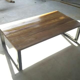 インダストリアル風 テーブル 口型 ウォールナット(ローテーブル)